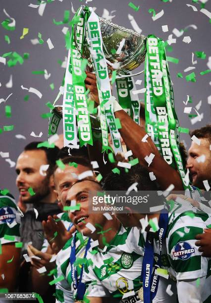 Scott Brown of Celtic lifts the trophy during the Betfred Cup Final between Celtic and Aberdeen at Hampden Park on December 2, 2018 in Glasgow,...