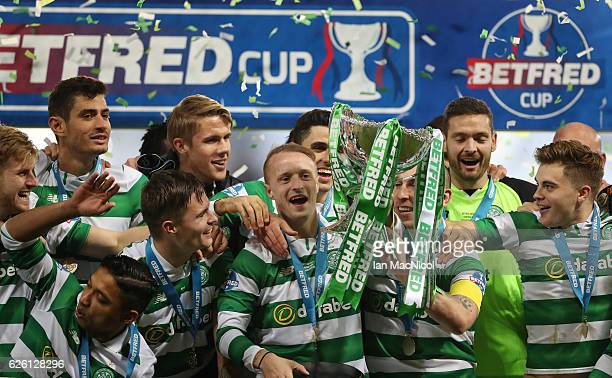 Scott Brown of Celtic lifts the trophy during the Betfred Cup Final between Aberdeen and Celtic at Hampden Park on November 27 2016 in Glasgow...