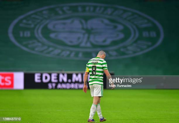 Scott Brown of Celtic looks dejected following the Betfred Cup match between Celtic and Ross County at Celtic Park on November 29, 2020 in Glasgow,...