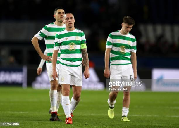 Scott Brown of Celtic looks on dejected at the full time whistle during the UEFA Champions League group B match between Paris SaintGermain and Celtic...