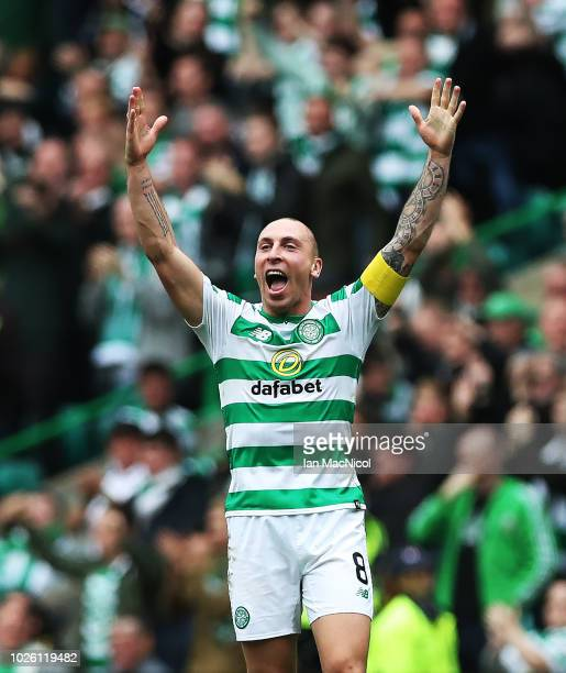Scott Brown of Celtic reacts at full time during the Scottish Premier League between Celtic and Rangers at Celtic Park Stadium on September 2 2018 in...