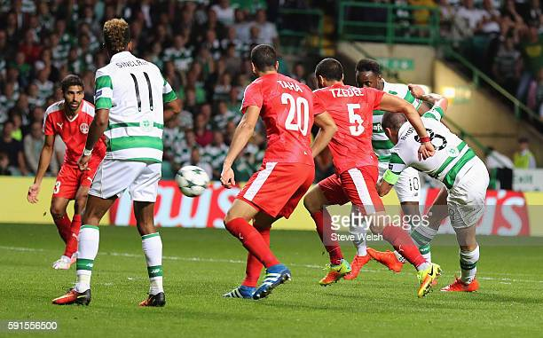 Scott Brown of Celtic scores his team's fifth goal during the UEFA Champions League Playoff First leg match between Celtic and Hapoel BeerSheva at...