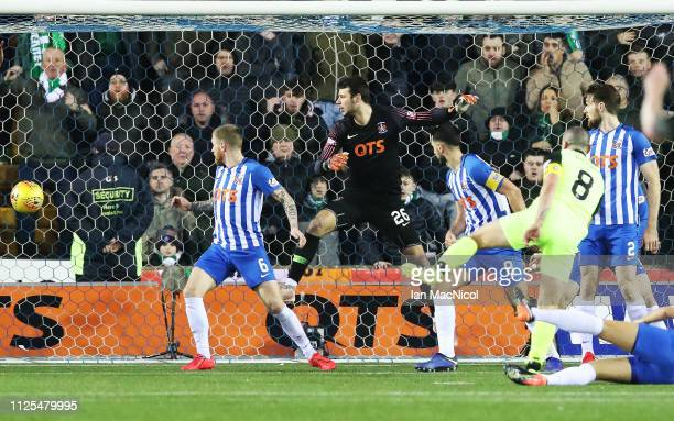 KILMARNOCK SCOTLAND FEBRUARY 17 Scott Brown of Celtic scores the winning goal during he Scottish Ladbrokes Premiership match between Kilmarnock and...