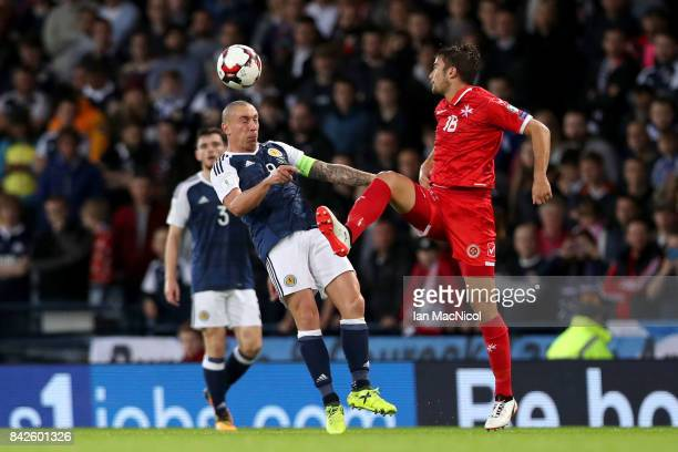 Scott Brown of Scotland and Bjorn Kristensen of Malta battle for the ball during the FIFA 2018 World Cup Qualifier between Scotland and Malta at...