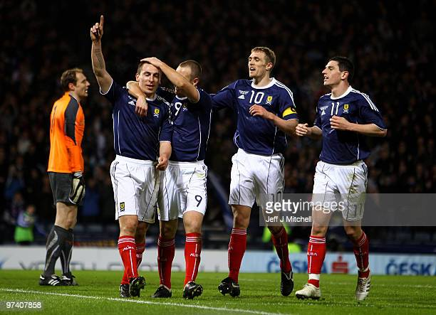 Scott Brown of Scotland celebrates with Kenny Miller after scoring during the International Friendly match between Scotland and the Czech Republic at...