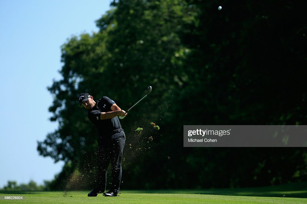 Scott Brown of the United States plays his second shot on the 14th hole during the second round of the Travelers Championship at the TPC River Highlands on August 5, 2016 in Cromwell, Connecticut.