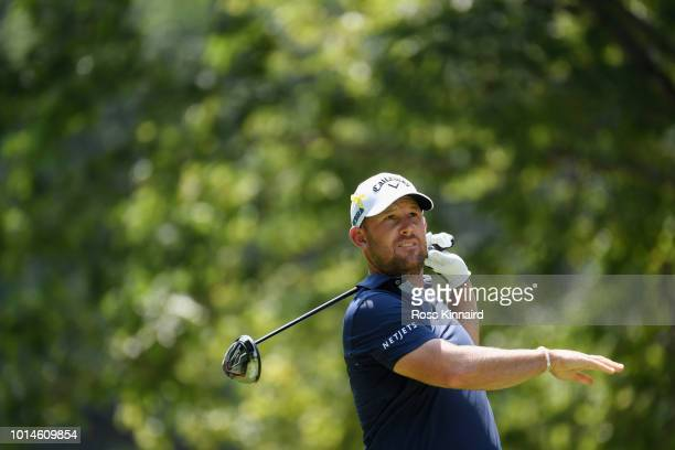 Scott Brown of the United States plays his shot from the 11th tee during the second round of the 2018 PGA Championship at Bellerive Country Club on...