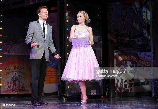 Scott Bruton and Daisy WoodDavis perform during a photocall for Dreamboats and Petticoats as it transfers to the West End at The Savoy Theatre on...