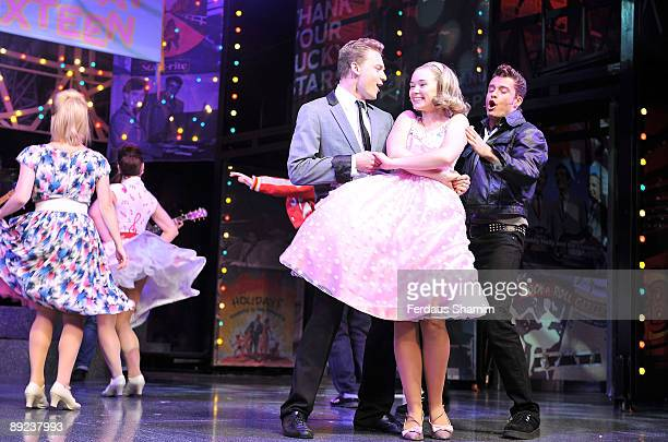 Scott Bruton Daisy WoodDavis and Ben Freeman perform during a photocall for Dreamboats and Petticoats as it transfers to the West End at The Savoy...