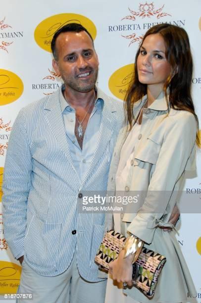 Scott Buccheit and Allie Rizzo attend Tinsley Mortimer Hosts the Roberta Freymann East Hampton Boutique Grand Opening at Roberta Freymann Boutique on...