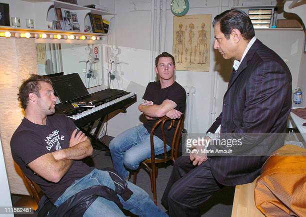 Scott Caan Shawn Hatosy and Jeff Goldblum during 'Dallas 362' Cast Backstage After Performance of 'The Pillowman' June 22 2005 at The Booth Theatre...