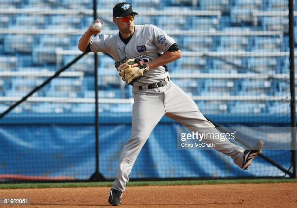 Scott Campbell of the Toronto Blue Jays playing for the World Futures Team takes fielding practice before the 2008 XM All-Star Futures Game at Yankee...