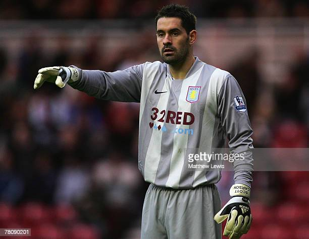 Scott Carson of Aston Villa in action during the Barclays Premier League match between Middlesbrough and Aston Villa at the Riverside Stadium on...