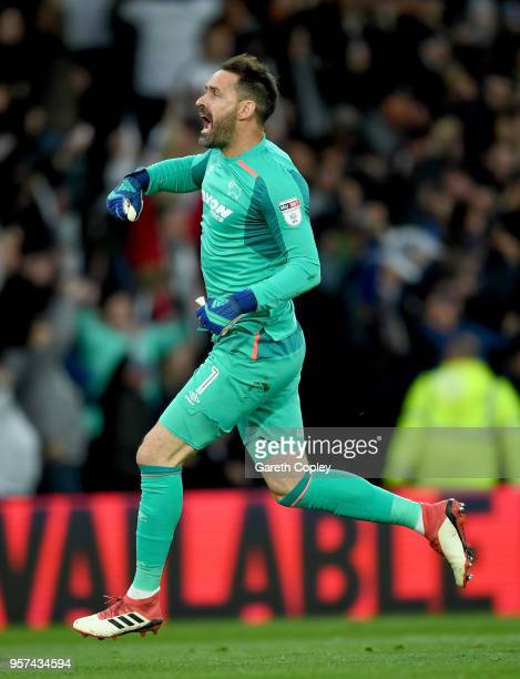 Scott Carson of Derby celebrates his teams goal during the Sky Bet Championship Play Off Semi FinalFirst Leg match between Derby County and Fulham at...