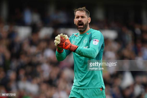 Scott Carson of Derby claps the fans after the Sky Bet Championship match between Derby County and Nottingham Forest at iPro Stadium on October 15...