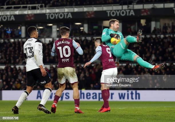 Scott Carson of Derby County catches the ball during the Sky Bet Championship match between Derby County and Aston Villa at iPro Stadium on December...