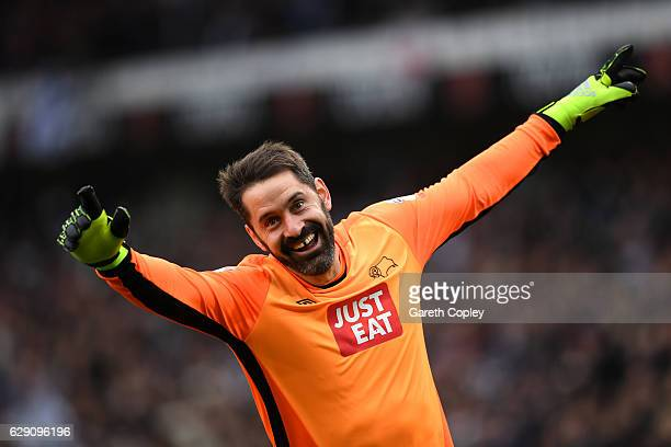 Scott Carson of Derby County celebrates after Tom Ince of Derby County scores his side's second during the Sky Bet Championship match between Derby...