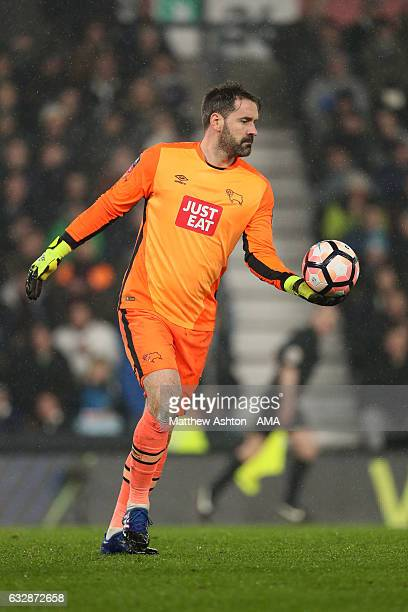 Scott Carson of Derby County during the Emirates FA Cup Fourth Round match between Derby County and Leicester City at iPro Stadium on January 27 2017...
