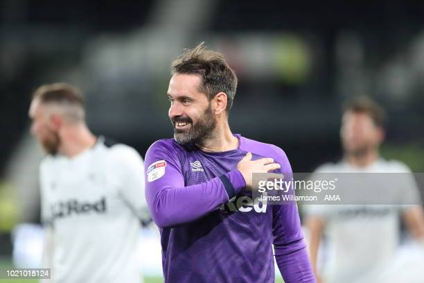 Scott Carson of Derby County during the Sky Bet Championship match between Derby County and Ipswich Town at Pride Park Stadium on August 21 2018 in...