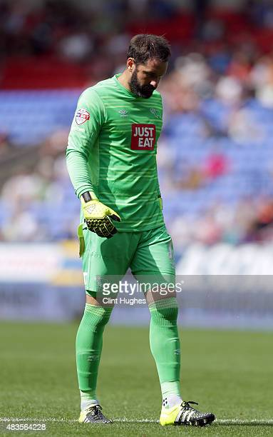 Scott Carson of Derby County during the Sky Bet Championship match between Bolton Wanderers and Derby County at the Macron Stadium on August 8 2015...