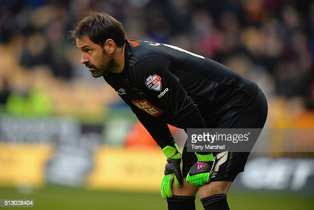 Scott Carson of Derby County during the Sky Bet Championship match between Wolverhampton Wanderers and Derby County at Molineux on February 27 2016...