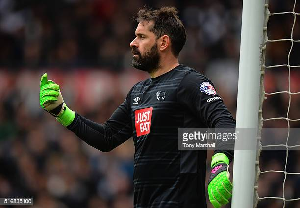 Scott Carson of Derby County during the Sky Bet Championship match between Derby County and Nottingham Forest at the iPro Stadium on March 19 2016 in...