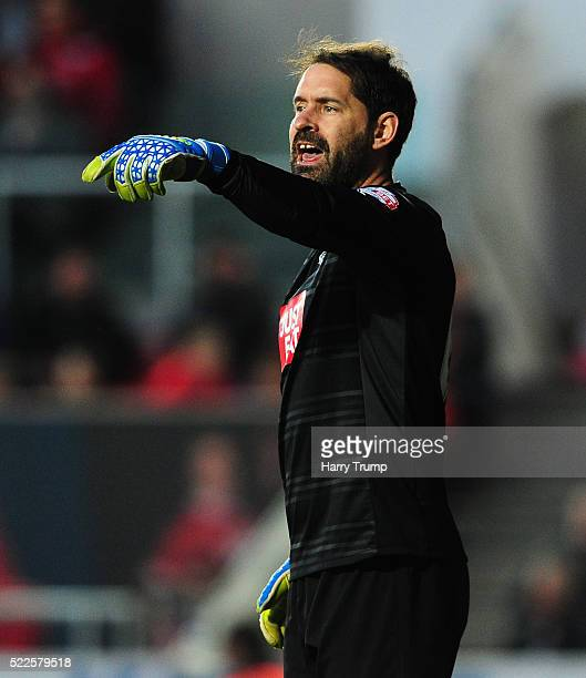 Scott Carson of Derby County during the Sky Bet Championship match between Bristol City and Derby County on April 19 2016 in Bristol United Kingdom