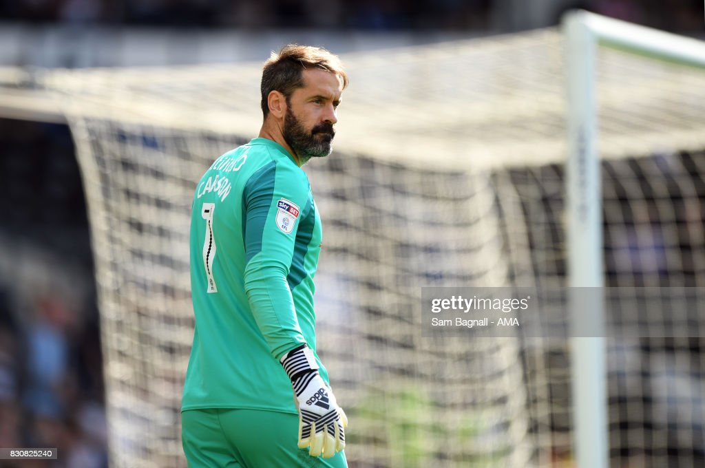 Scott Carson of Derby County during the Sky Bet Championship match between Derby County and Wolverhampton at iPro Stadium on August 12, 2017 in Derby, England.