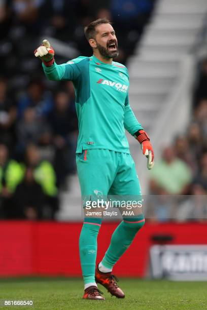 Scott Carson of Derby County during the Sky Bet Championship match between Derby County and Nottingham Forest at iPro Stadium on October 15 2017 in...