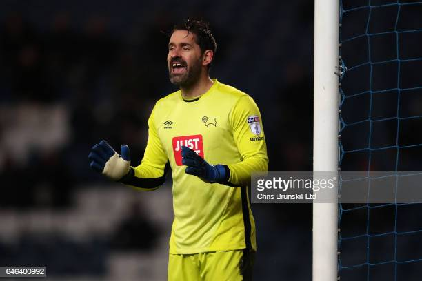 Scott Carson of Derby County gestures during the Sky Bet Championship match between Blackburn Rovers and Derby County at Ewood Park on February 28...