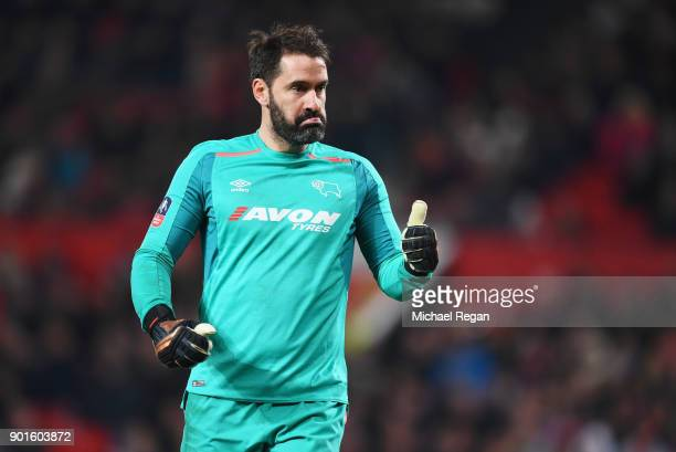 Scott Carson of Derby County gives a thumbs up during the Emirates FA Cup Third Round match between Manchester United and Derby County at Old...