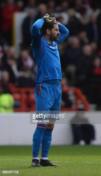 Scott Carson of Derby County holds his hands on his head during the Sky Bet Championship match between Nottingham Forest and Derby County at City...