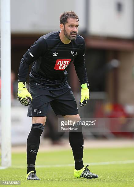 Scott Carson of Derby County in action during the PreSeason Friendly match between Northampton Town and Derby County at Sixfields Stadium on July 18...