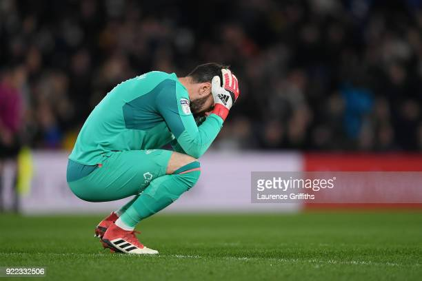 Scott Carson of Derby County looks dejected during the Sky Bet Championship match between Derby County and Leeds United at iPro Stadium on February...