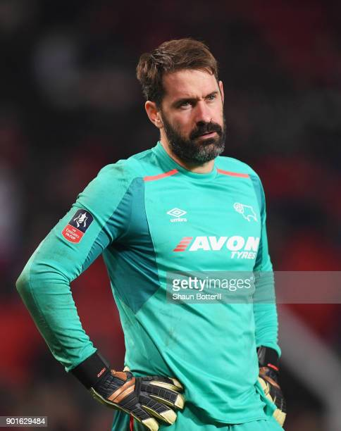 Scott Carson of Derby County looks despondent during the Emirates FA Cup Third Round match between Manchester United and Derby County at Old Trafford...