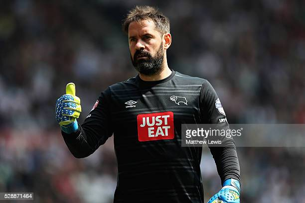 Scott Carson of Derby County looks on during the Sky Bet Championship match between Derby County and Ipswich Town at the iPro Stadium on May 07 2016...