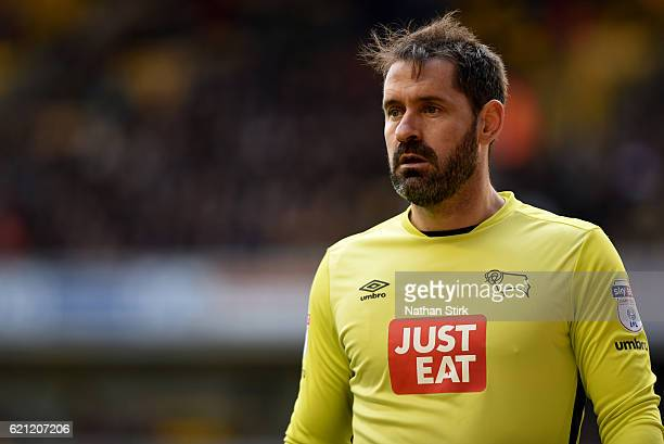 Scott Carson of Derby County looks on during the Sky Bet Championship match between Wolverhampton Wanderers and Derby County at Molineux Stadium on...