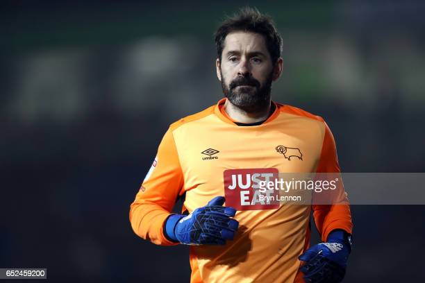 Scott Carson of Derby County looks on during the Sky Bet Championship match between Brighton Hove Albion and Derby County at the Amex Stadium on...