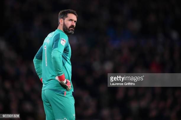 Scott Carson of Derby County looks on during the Sky Bet Championship match between Derby County and Leeds United at iPro Stadium on February 21 2018...
