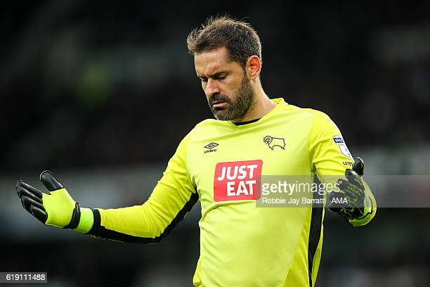 Scott Carson of Derby County reacts after a missed chance during the Sky Bet Championship match between Derby County and Sheffield Wednesday at iPro...