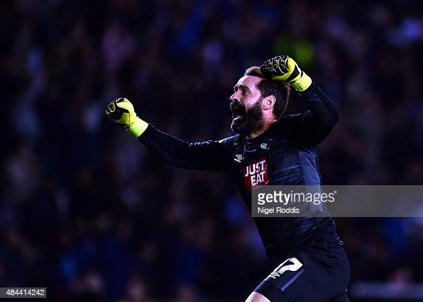 Scott Carson of Derby County reacts after teamate Johnny Russell scored during the Sky Bet Championship match between Derby County and Middlesbrough...