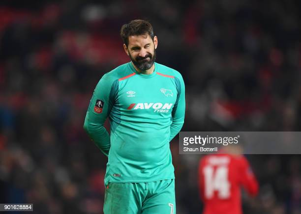 Scott Carson of Derby County reacts as Romelu Lukaku of Manchester United scores their second goal during the Emirates FA Cup Third Round match...