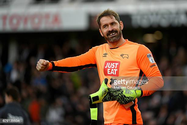 Scott Carson of Derby County reacts during the Sky Bet Championship match between Derby County and Nottingham Forest at theIPro Stadium on December...