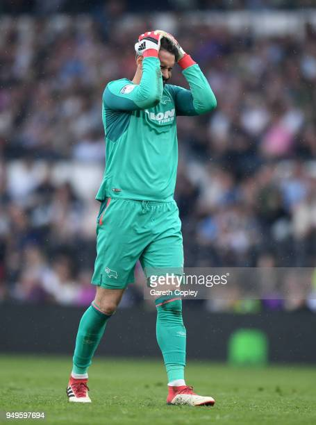 Scott Carson of Derby County reacts during the Sky Bet Championship match between Derby and Middlesbrough at iPro Stadium on April 21 2018 in Derby...