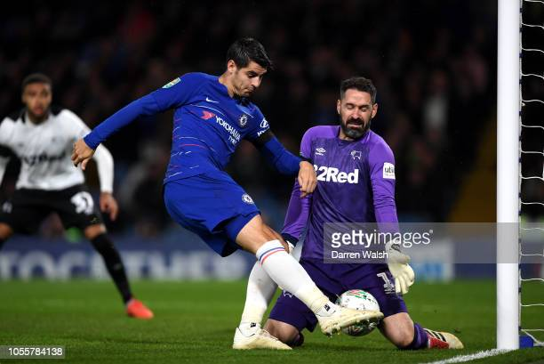 Scott Carson of Derby County saves a shot from Alvaro Morata of Chelsea during the Carabao Cup Fourth Round match between Chelsea and Derby County at...