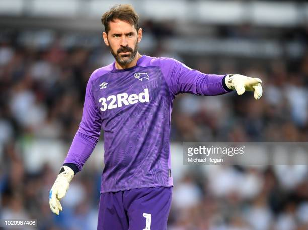 Scott Carson of Derby in action during the Sky Bet Championship match between Derby County v Ipswich Town at Pride Park Stadium on August 21 2018 in...