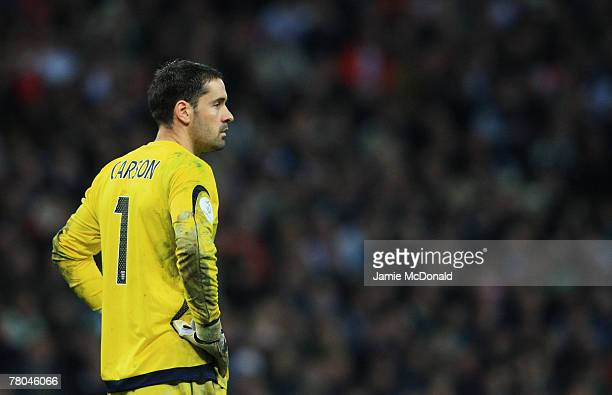 Scott Carson of England looks dejected during the Euro 2008 Group E qualifying match between England and Croatia at Wembley Stadium on November 21...