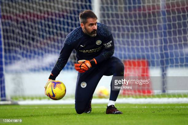 Scott Carson of Manchester City during the Premier League match between Chelsea and Manchester City at Stamford Bridge on January 3, 2021 in London,...