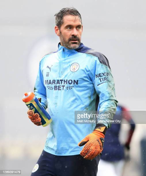Scott Carson of Manchester City in action during a training session at Manchester City Football Academy on December 04, 2020 in Manchester, England.
