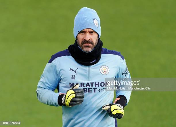 Scott Carson of Manchester City in action during a training session at Manchester City Football Academy on February 09, 2021 in Manchester, England.